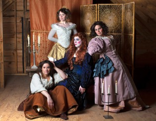 Danica Carlson as Maria, Olivia Tobin as Nell Gwynn, Billy Butler as Edward Kynaston and Jennifer Henry as Margaret Hughes. Photo by M. Lavigne Photography